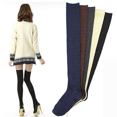 85f1d9a07 Braid Winter Stockings Over Knee Warm Thigh-Highs Knitted Hose Stockings
