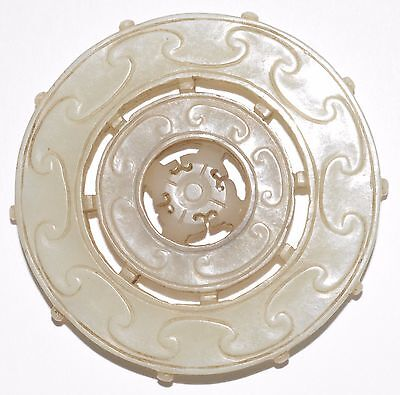 ANTIQUE CHINESE 1800'S RARE White Jade Hand Carved Bi-Disc ...
