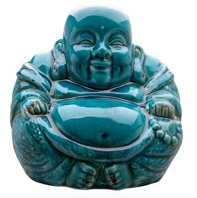 Buddha Laughing Statue Ornament, Crackle Blue, Happiness, Wealth and Prosperity