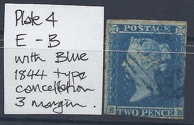 Rare Blue Cancellation on 1841 2d (SG CAT £1,000)