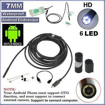 Waterproof 7mm 6LED Android Endoscope Borescope Snake Inspection Camera ScoDS
