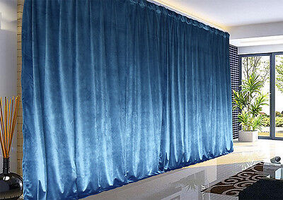 Large Thick Velvet Blockout Curtains 267x 230cm PINCH PLEAT 1 panel +Hooks Blue