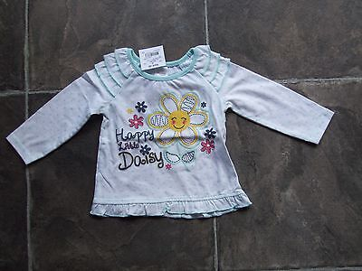 BNWT Baby Girl's Daisy Long Sleeve Cotton Top Size 00