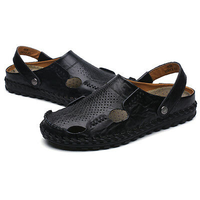 Men Leather Closed Toe Sandals Summer Casual Shoes Hand Sewing Sandal Shoes