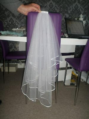 White 2 Tier Shoulder Length Veil Attatched Onto A Comb New