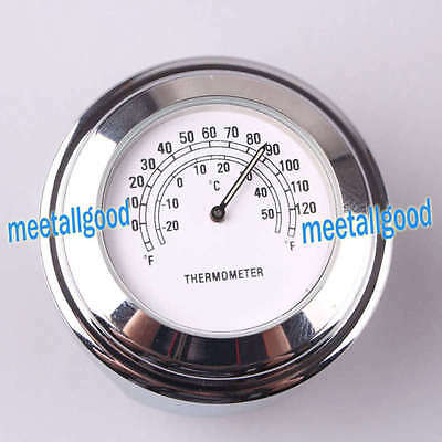 "Motorcycle 7/8"" Handlebar Temp Dial Clock Thermometer Chrome Mount White"
