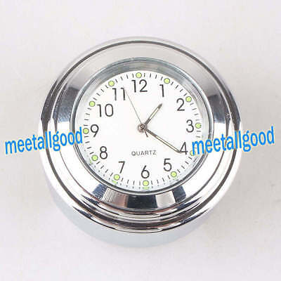 "7/8"" Motorcycle Bike Chrome White Dial Handlebar Waterproof Glow-Watch Clock YS"