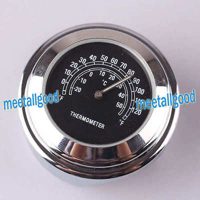 "Bike Motorcycle 7/8"" Handlebar Temp Black Dial Clock Thermometer Chrome Mount"