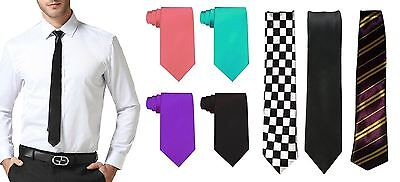 Mens Boys Stripe Plain Tartan Checkered Necktie Wedding Office Fancy Dress Party