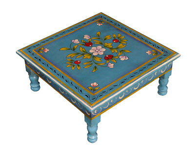 """Indian Wooden Side Table Hand Painted Worship Low End Furniture Coffee Table 13"""""""