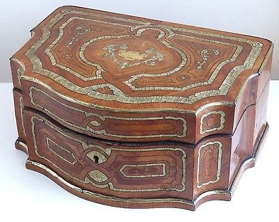 RARE Antique Large 19th Century French Kingwood / Brass Inlaid Table Box /Casket