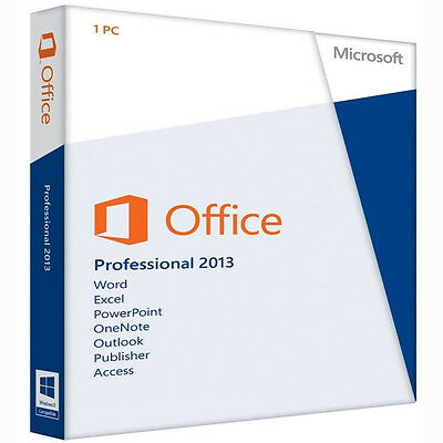 NEW Microsoft Office Professional 2013 1 PC Key Card With 1 DVD