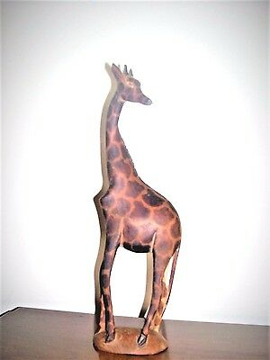 "April GIRAFFE~hand carved in Kenya~12"" tall"
