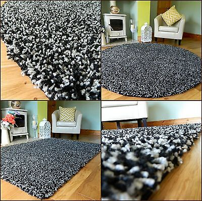New Medium X Large Black Silver Mix Thick Heavy Soft Quality Shaggy Pile Rug Mat