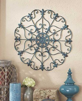 NEW French Country Scroll Fleur De Lis Antiqued Finish Iron Wall Art Medallion