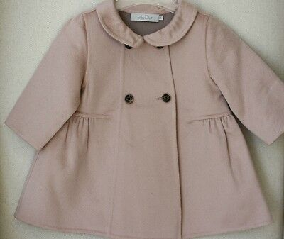 Dior Baby Pink And Taupe Double-Sided Pure Cashmere Coat 9 Months