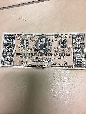 1864 Confederate States of America $1 One Dollar Bill Civil War Currency Note