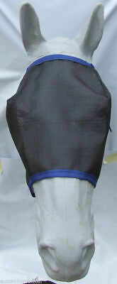 Ecotak Fly Mask Black mesh with royal blue trim  Ecotak