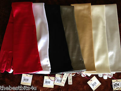"""Dents New Satin Evening long gloves ( approx 23""""/58cm ) 16BL  stretchy  6-2182"""