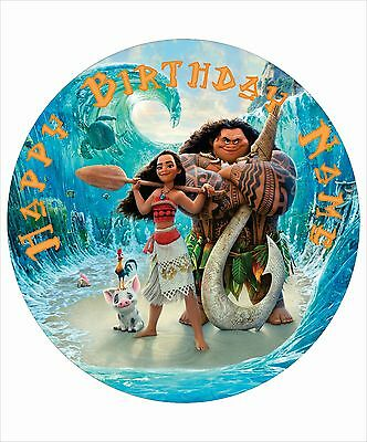 "Moana Personalised Edible Kids Party Cake Decoration Topper 7.5"" Round Image"