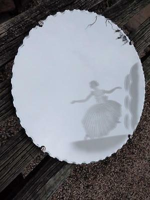VINTAGE Chic ART DECO Acid ETCHED Ballerina MIRROR Bevelled Pie Crust Edge 40cm