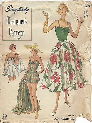 R782 1950 Vintage Sewing Pattern B42 SUIT-SKIRT /& JACKET