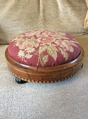 Antique Victorian foot stool with beaded floral top