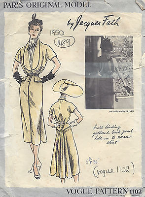 1950 Vintage VOGUE Sewing Pattern B36 DRESS & SCARF (1489) By Jacques Fath