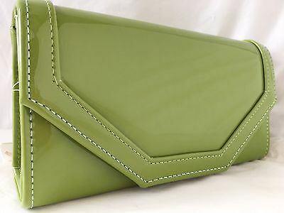 New In Olive Green Faux Patent Leather Evening Day Clutch Bag Wedding Prom Party