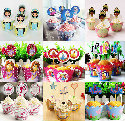 Pk12 Princesses Cupcake Liners Wrappers & Cake Toppers Party Birthday Cake Decor