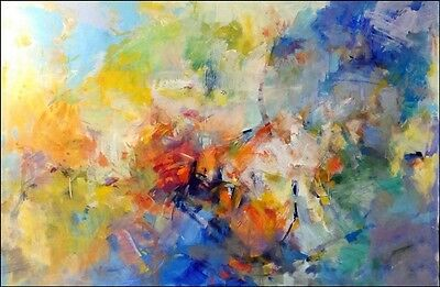 "Original Abstract Painting Signed Beautiful Oil On Canvas Giant Size 48""x 72"""