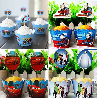 Ppk12 Cars Cupcake Liners Wrappers & Cake Toppers Birthday Cake Party Suppies