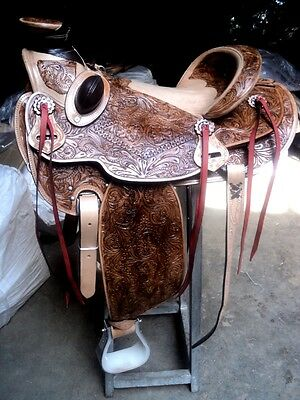 "16""western tack trail pleasure wade cowboy rodeo horse premium leather saddle"