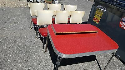 VINTAGE 1950's RED FORMICA CHROME TABLE WITH 6 RED CHAIRS & 1 LEAF