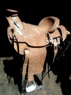"16""western tack pleasure wade cowboy rodeo horse premium leather king saddle"