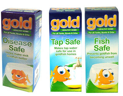 Interpet Gold Fish Treatment Set: Disease Safe, Fish Safe & Tap Safe 3x 100ml