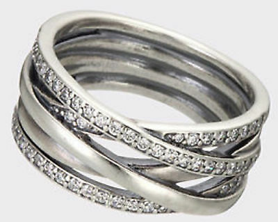 New Genuine Silver & Cz Signature PANDORA Entwined Ring 190919CZ RRP £100
