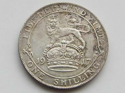George V 1917 silver shilling - Good collectable coin