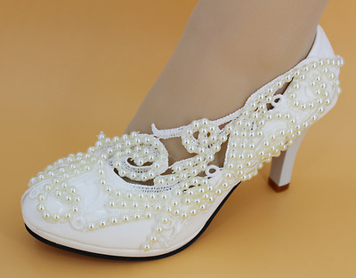 8/11cm heel white ivory lace pearls Wedding shoes pumps bride size 4.5-10