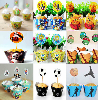 Pk12 Kids Cupcake Liners Wrappers Cake Toppers Birthday Cake Party Supply Decor
