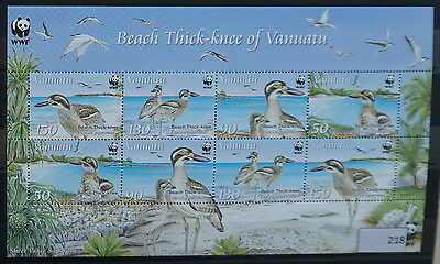 S0 0218 WWF Animals Vanuatu MNH 2009 Beach Thich-knee Birds