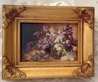 Antique Victorian Miniature Wood Frame Ornate Gold Gilt Santoro 3D Swing Lilac