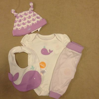 NWT Gymboree Girls Newborn Essentials Lavender Whale 4-Piece Set Size 3-6 Months