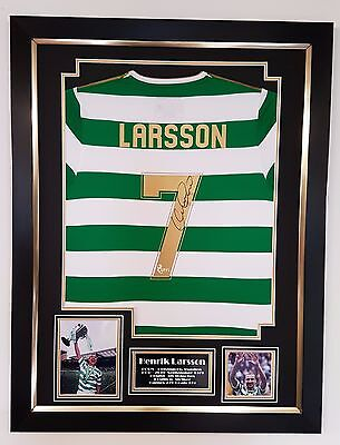 *** Rare HENRIK LARSSON OF CELTIC Signed Shirt Display AFTAL DEALER COA