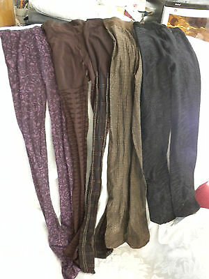 Lot Of 5 Five  Stockings Tights  Black, Brown, Plaid, Pink     Ladies Size Small