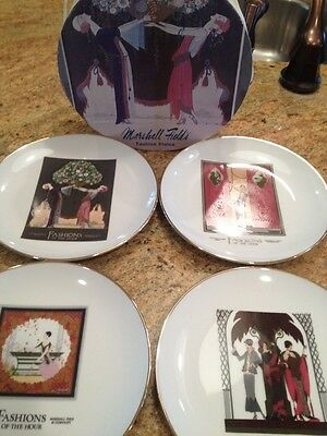 Set 4 Marshall Fields Plates Fashion Art Deco Department Store Chicago Porcelain