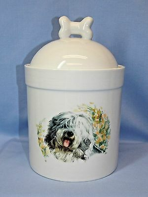 Old English Sheepdog Dog Porcelain Treat Jar Fired Head Decal on Front 8 In Tall