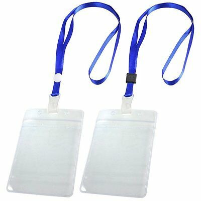 2 Pcs Porte Badge ID Carte Laniere tour de cou reglable Clair Bleu B9J8