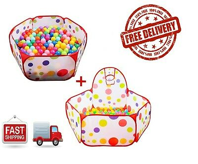 2Pcs Portable Out/Indoor Game Play Kid Children Pet Toy Tent Ocean Ball Pit Pool