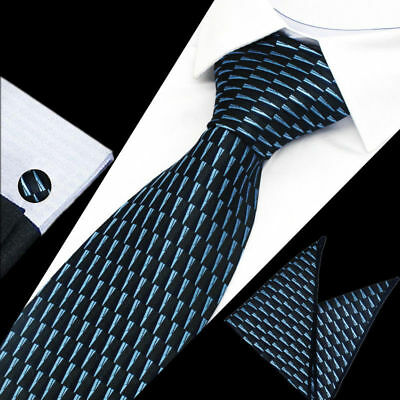 Mens Classic Dark Blue Stripe Silk Tie Handkerchief Hanky Cufflinks GIFT SET